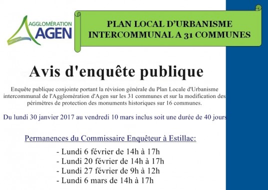 ENQUETE PUBLIQUE PLAN LOCAL D'URBANISME INTERCOMMUNAL
